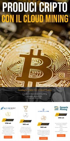 """Immagine verticale con moneta bitcoin in primo piano con scritta bianca ed arancione in alto """"Produci Cripto con il Cloud Mining"""" e tabella in basso"""
